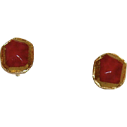 Kenneth Lane Gold-Tone and Strawberry Pink Clip On Earrings