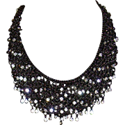 Graziano Gunmetal and Rhinestone Bib Style Necklace