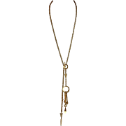 Matte Gold-Tone Lariat Style Necklace