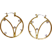 Gold-Tone and Rhinestone Hoop Earrings