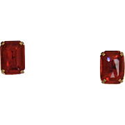 Simulated Ruby Clip-On Earrings