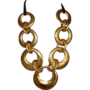 Faux Gold-leaf Disc Necklace