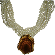 Faux Pearl Multi-Strand Necklace with Smokey Topaz Colored Pendant