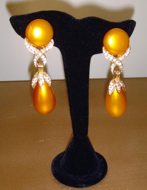 Simulated Pearl and Rhinestone Dangle Earrings