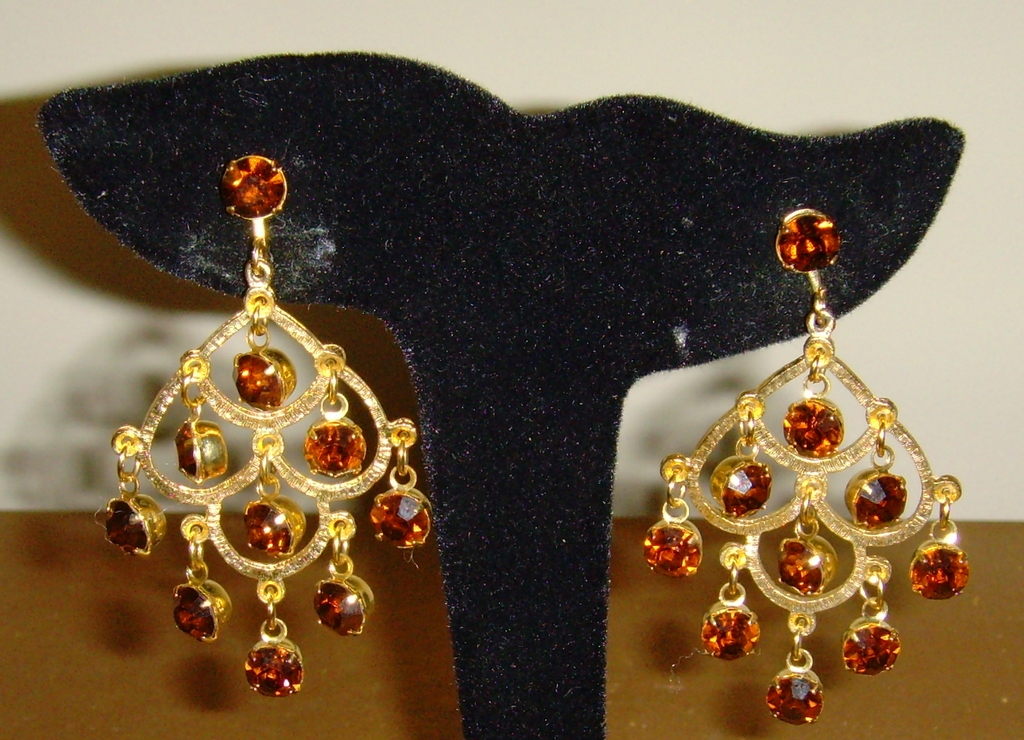 Topaz Colored Dangle Rhinestone Earrings