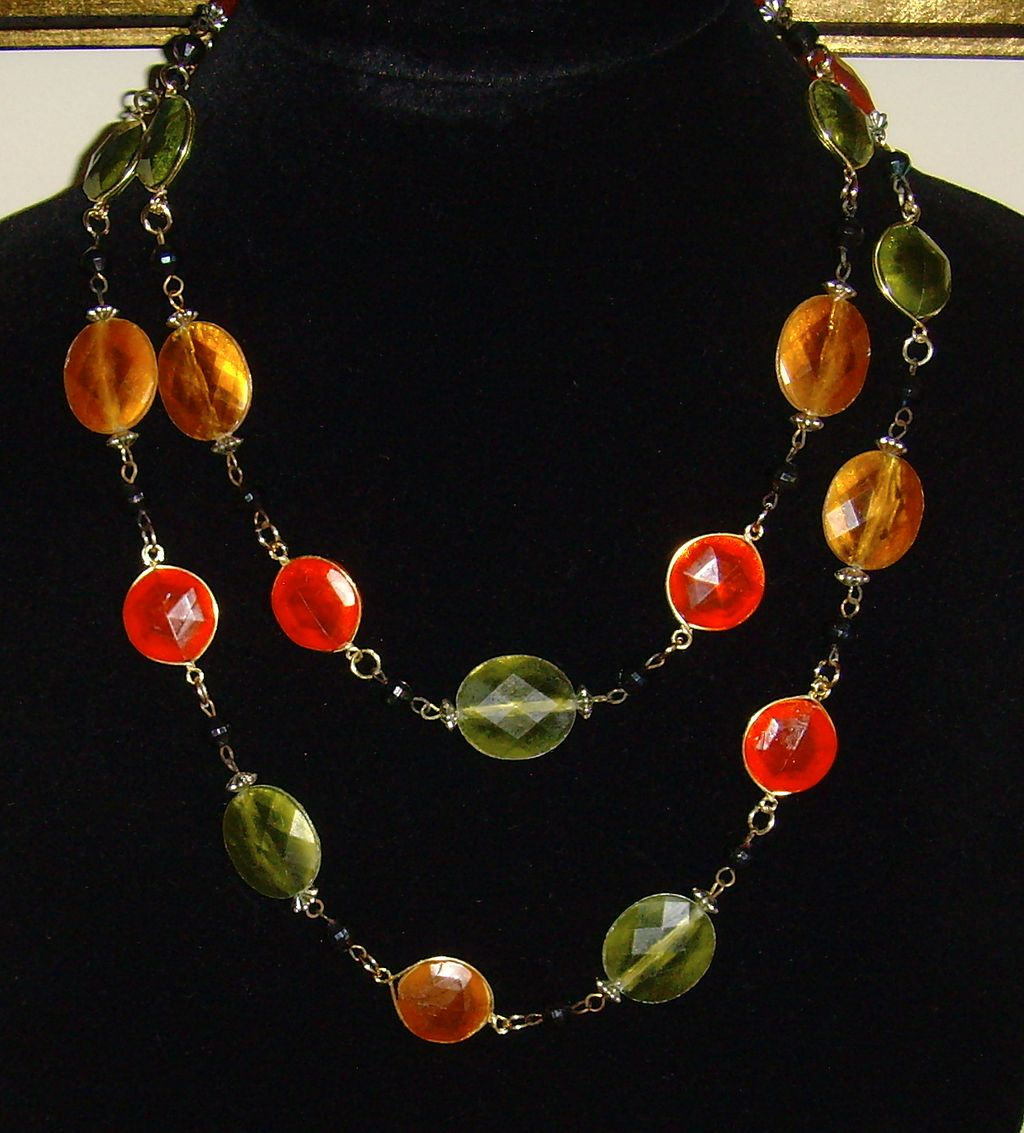 Multi-Colored Autumn Leaves Necklace