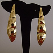 Gold-Toned Pea-Pod Style Clip-On Earrings