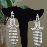 Pagoda Shaped Rhinestone Dangle Earrings