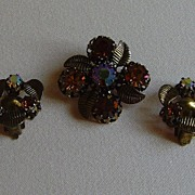 Vintage Antique Gold-Toned and Topaz Aurora Borealis Pin Set