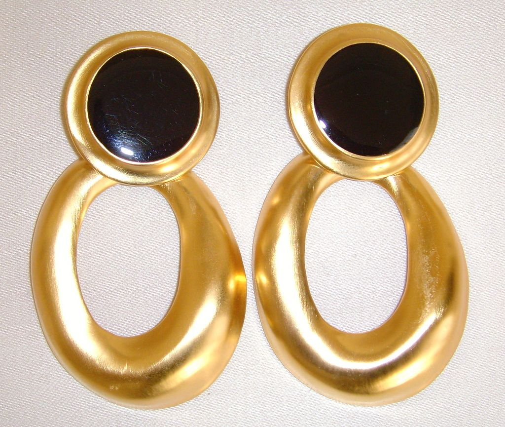 Brushed Gold-Toned Door Knocker Earrings