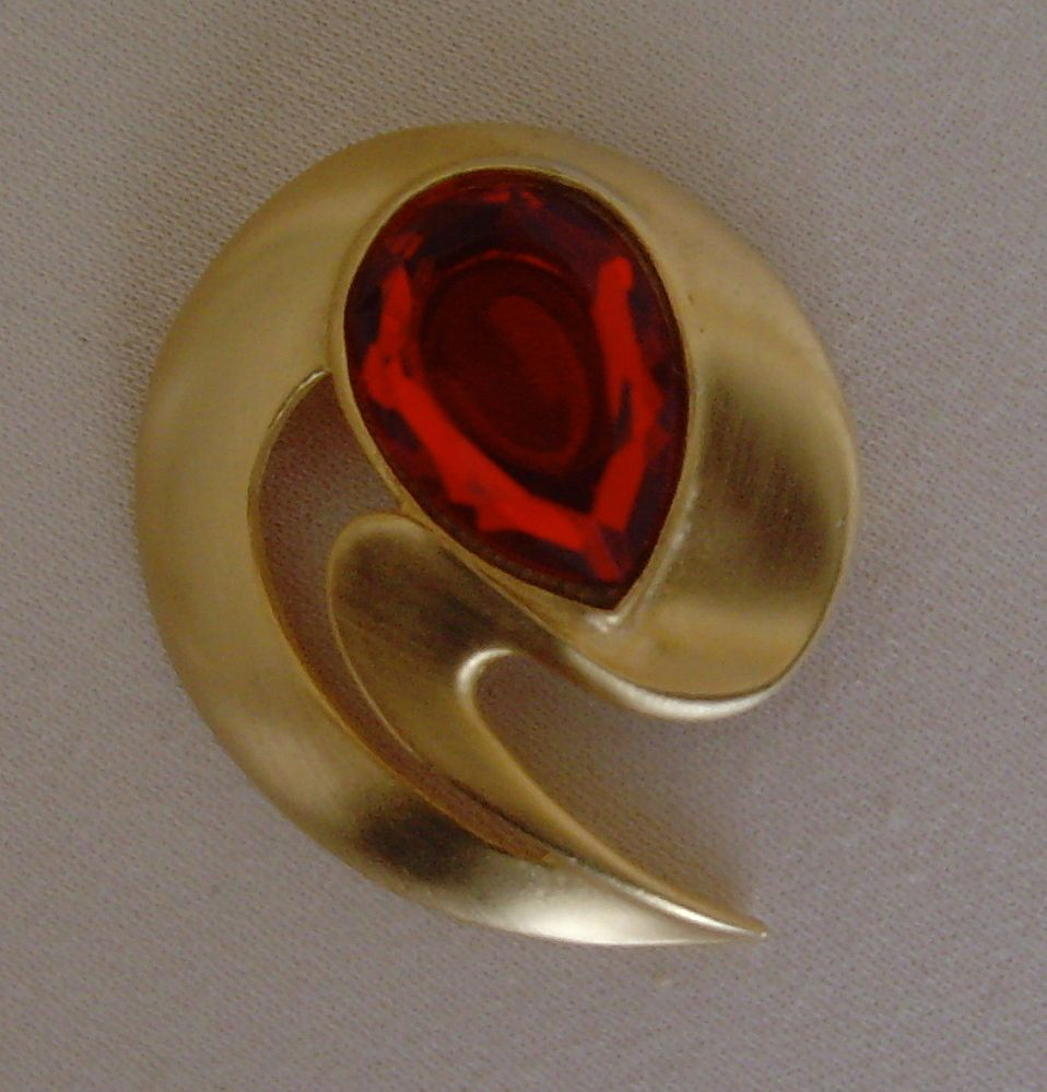 Brushed Gold-Toned and Red Glass Pin