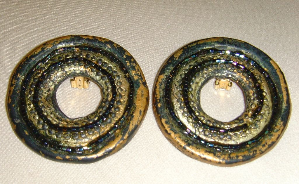 Circular Paper Mache Vintage Earrings
