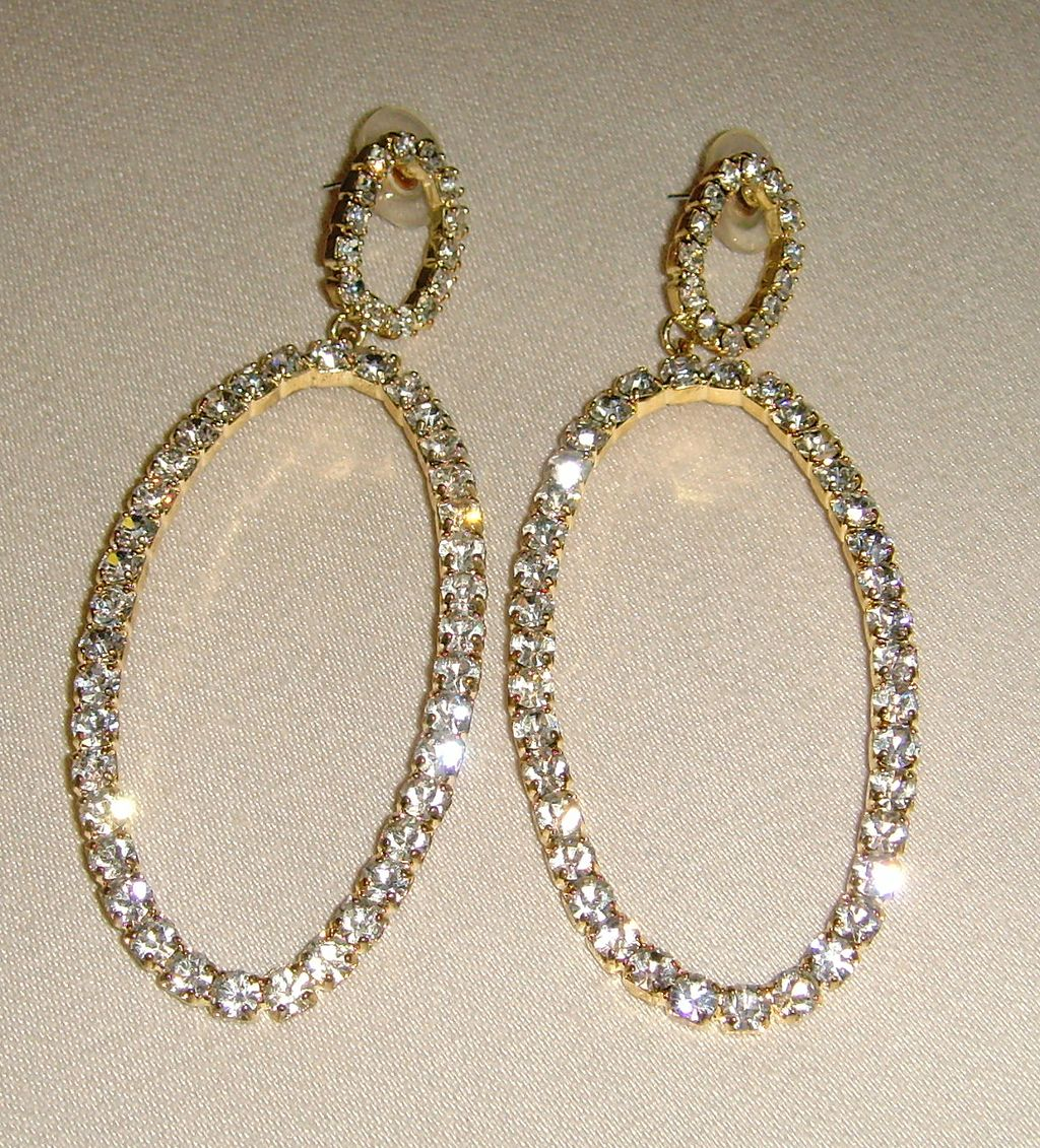 Gold-Toned and Rhinestone Dangle Pierced Earrings