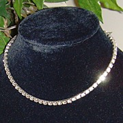Silver-Toned and Rhinestone Necklace