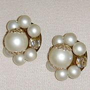 Simulated Clustered Pearl Clip-On Earrings