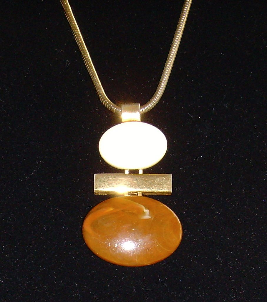 Avon Gold-Tone and Lucite Pendant Necklace