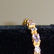 Sterling Silver Amethyst and Diamond Bracelet
