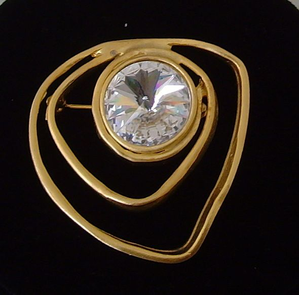 Matte Gold-Tone and Rhinestone Brooch