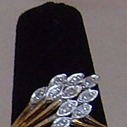 10 Karat Gold and Diamond Feather Ring