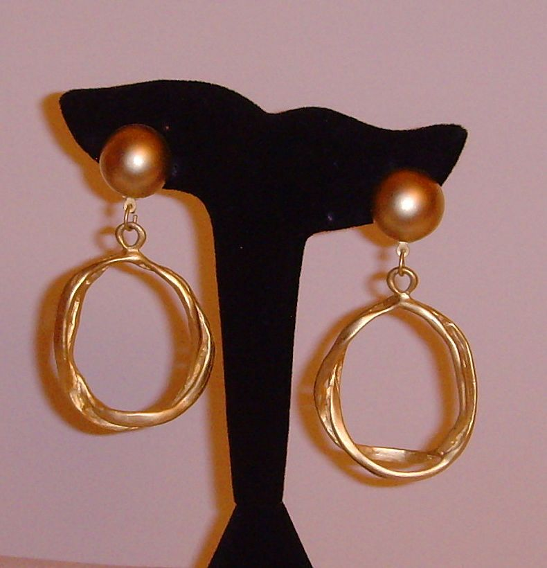 Matte Gold-Tone Abstract Dangle Earrings