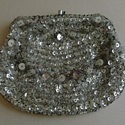 Vintage Beaded Silver-Tone Evening Bag