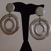 Silver-Tone Matte Finish Door Knocker Earrings