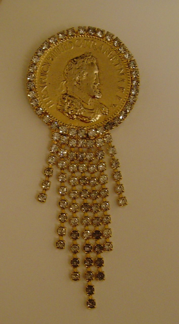 Gold-Tone and Rhinestone Faux Coin Dangle Brooch