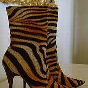 Casadei Zebra Print Designer High Heel Ankle Boots