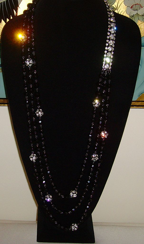 R.J. Graziano Lucite Beaded and Rhinestone Necklace