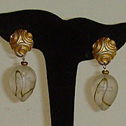Frosted Lucite Dangle Earrings