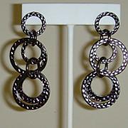 Gunmetal Toned Circle Pierced Earrings