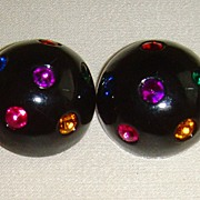 Black Lucite and Multi-Colored Rhinestone Clip-On Earrings