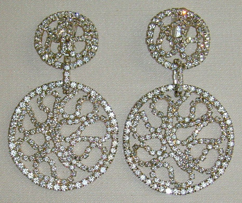 Les Bernard Silver-Tone and Rhinestone Dangle Earrings