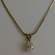 Pear-Shaped Cubic Zirconia Pendant