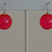 Pink Lucite Pierced Earrings
