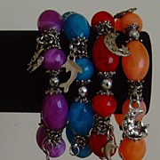 Lucite and Silver-Tone Charm Bracelets (Set of 4)