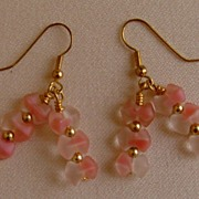 Frosted Lucite Dangle Pierced Earrings