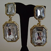 Gold-Tone and Clear Lucite Dangle Clip-On Earrings