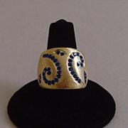 Gold-Tone Satin Finished and Blue Rhinestone Ring