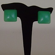 Lucite Square Simulated Jade-Like Clip-On Earrings