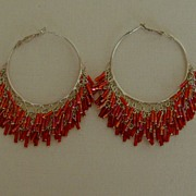 Silver-Tone and Bugle Bead Hoop Pierced Earrings