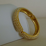 Gold-Tone and Simulated Pearl Hinge Style Bracelet
