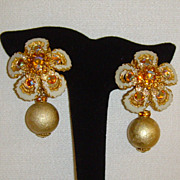 Gold-Tone and Aurora Borealis Clip-On Dangle Earrings