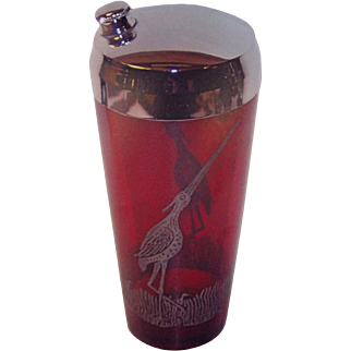 Ruby red glass shaker with silver overlay cranes