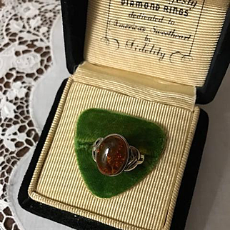 Irish Sterling Baltic Amber Ring