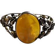 Vintage Sterling and Baltic Butterscotch Amber Bracelet