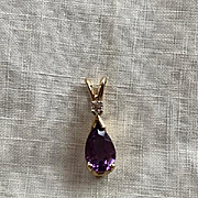 14K Amethyst and Diamond Pendant Necklace by Cross Jewelers Portland Maine