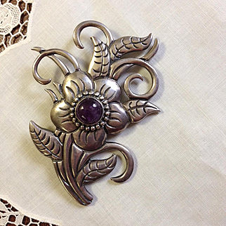 Large Mexican Sterling Amethyst Brooch