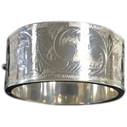 Vintage Sterling Wide Bangle  Bracelet