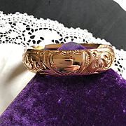 Edwardian Wide Gold Filled Bangle Bracelet